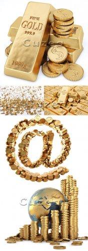 Stock photo - Деньги и золотые слитки на белом фоне/ Gold money on white ba ...