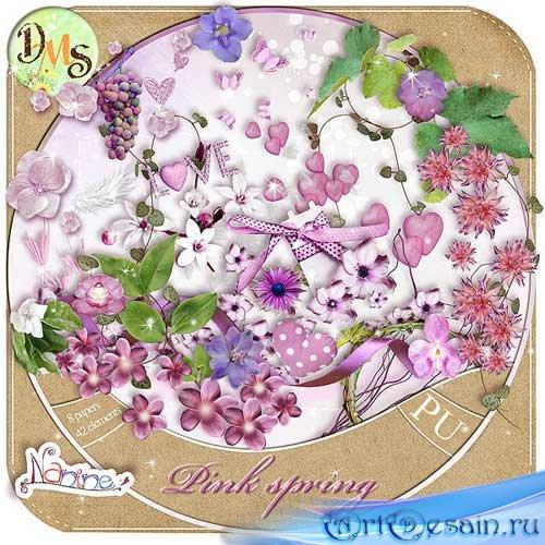 Цветочный весенний скрап-набор - Розовая весна