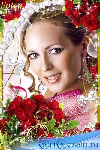 Праздничная рамка для фото - Розы в день 8 Марта
