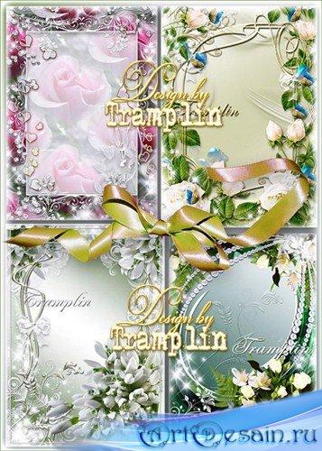 Сборник весенних цветочных рамок – Тюльпаны, подснежники, белые розы