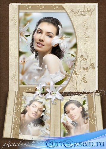Шаблон романтической фотокниги в теплых тонах - Моменты нежности