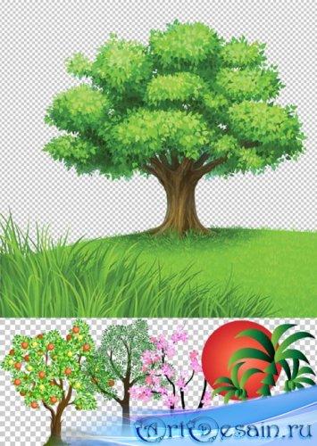 Клипарт - PSD рисованные деревья природы прозрачный фон