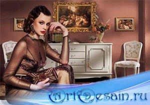 Шаблон женский - Ретро в коричневом цвете
