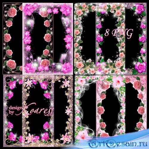 Набор гламурных и романтических рамок для фотошопа - В розовом свете