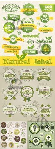 Vector Natural, Eco,  Bio label / Векторные Природные, экологические и био  ...