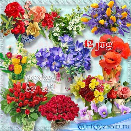 Клипарт в png - Прекрасные букеты в вазах