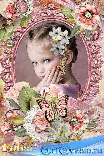 Цветочная рамка для фото - Капля утренней росы