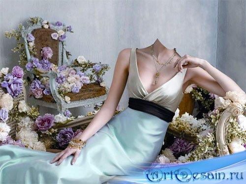 Женский шаблон - В красивом платье в центре цветов
