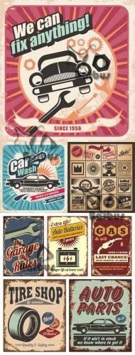 Auto retro poster and labels / Автомобильные ретро постеры и наклейки