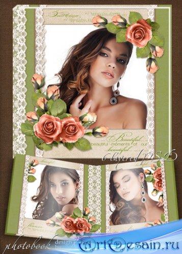 Винтажная фотокнига для романтических фото - Нежные розы на кружеве белом