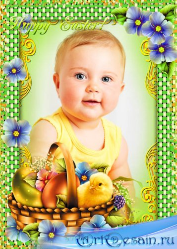 Пасха, пасхальная корзина, цыпленок, цветочки - рамка для фотошопа