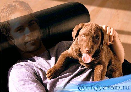Мужской шаблон - Парень с хорошенькой собакой