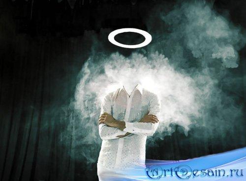 Мужской шаблон - Парень в белом костюме с нимбом