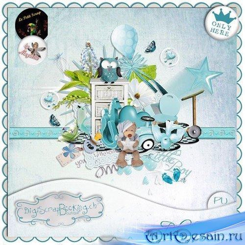 Нежный детский скрап-набор - Голубые грёзы