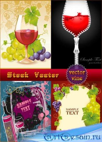 Векторные фоны - Вино и виноград