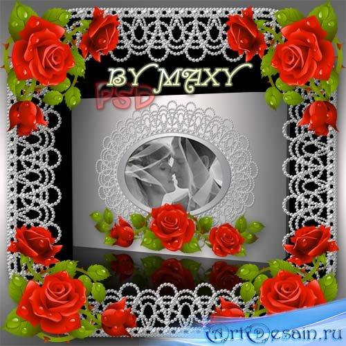 Шаблоны фотокниги с розами и жемчугом на тему свадьбы