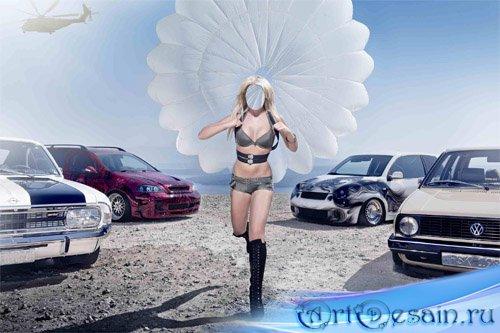 Шаблон женский - Блондинка среди машин с парашютом
