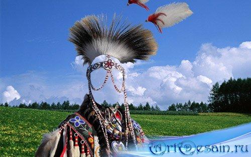 Мужской шаблон - В костюме индейского вождя