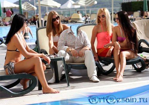 Мужской шаблон - Мужчина среди девушек