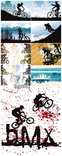 Silhouettes of cyclists / Силуэты велосипедистов