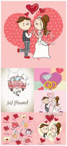 Just married / Молодожены - Vector Stock