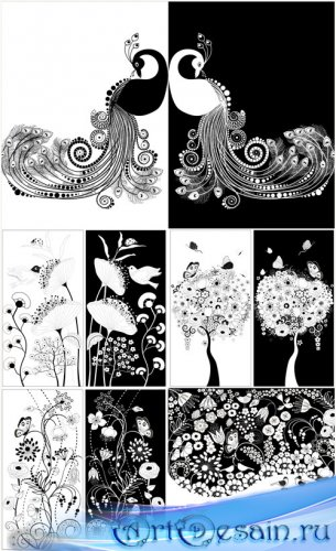 Цветочные фоны, цветочные орнаменты и бабочки,павлины в черно-белом цвете - ...