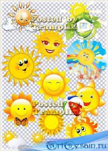 Клипарт на прозрачном фоне – Солнце – Солнышко лучистое
