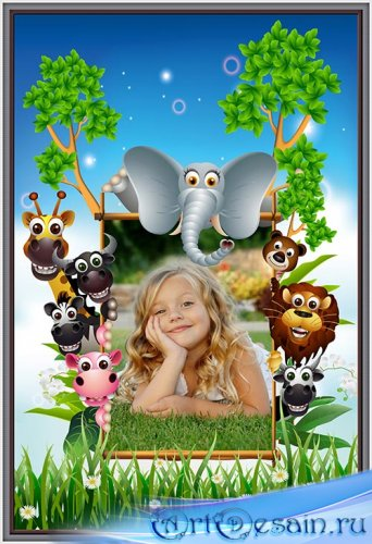 Детская фотошоп рамка зоопарк