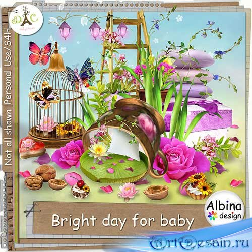 Красивый цветочный скрап-комплект - Яркий денёк для малыша