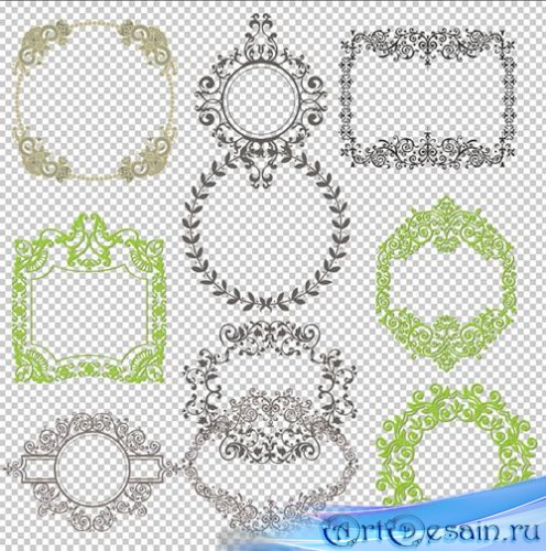Клипарт PSD - узорные рамки вырезы для фотошоп на прозрачном фоне