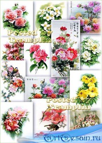 Клипарт – Цветы из китайской живописи