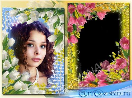 Рамки для фотошоп - Весенние цветы