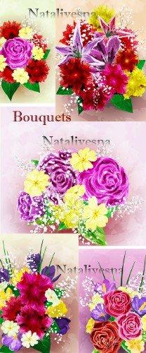 Букеты цветов в Векторе/ Bunches of flowers in Vector