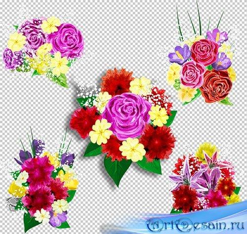 Клипарт PSD - Красивые цветочные композиции из рисованных цветов на прозрач ...