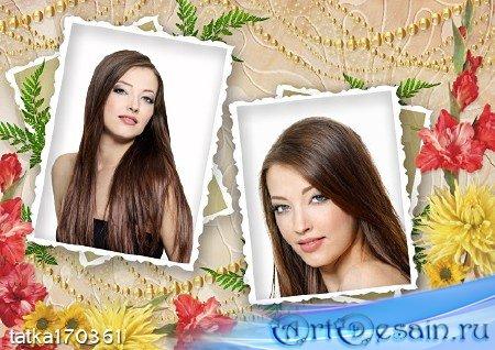 Цветочная рамка для фотошопа - Сохрани моё фото на память