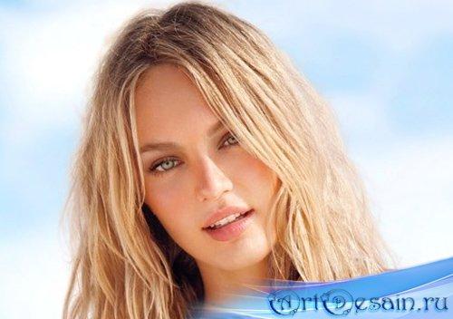 Женский шаблон - Блондинка в купальнике на пляже