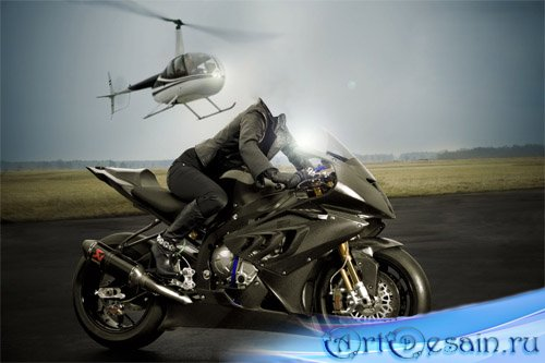 Шаблон для фотошопа - Девушка на мотоцикле