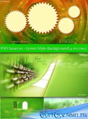 PSD Исходники - Фоны. Зеленый стиль