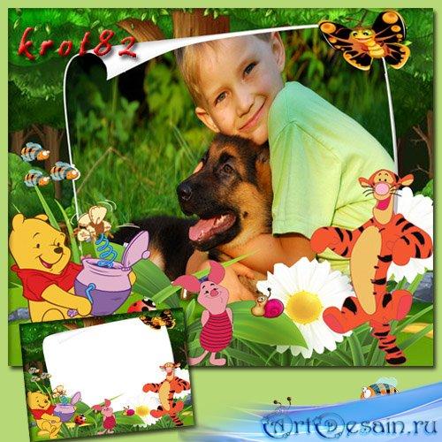 Детская летняя рамка - Приключения Винни-Пуха и Пятачка