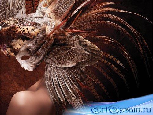 Маска из перьев - женский шаблон