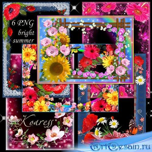 Набор из 6 цветочных рамок для фотошопа - Яркие летние цветы