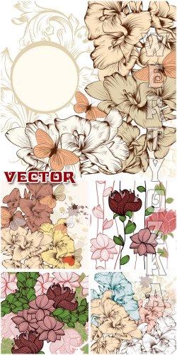 Фоны с цветами и бабочками / Backgrounds with flowers and butterflies - Vec ...