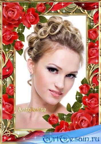 Женская рамка для фото – Золото и розы