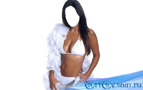 Шаблон для девушек - Брюнетка с белоснежными перьями в белом купальнике