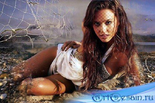 Женский шаблон для фотомонтажа - Девушка на берегу моря