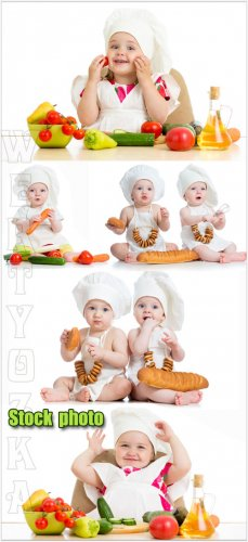 Дети и продукты питания / Children and food - Raster clipart