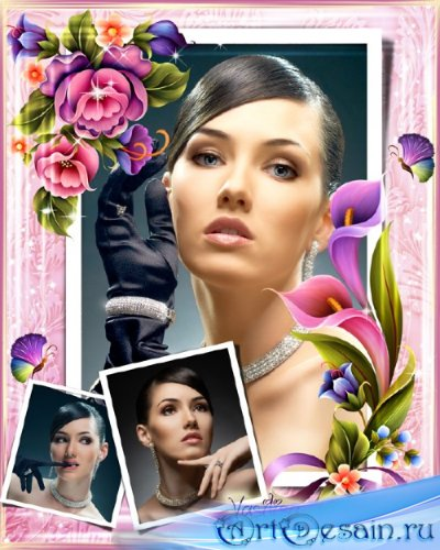 Рамка для фотошопа - Цветочная композиция