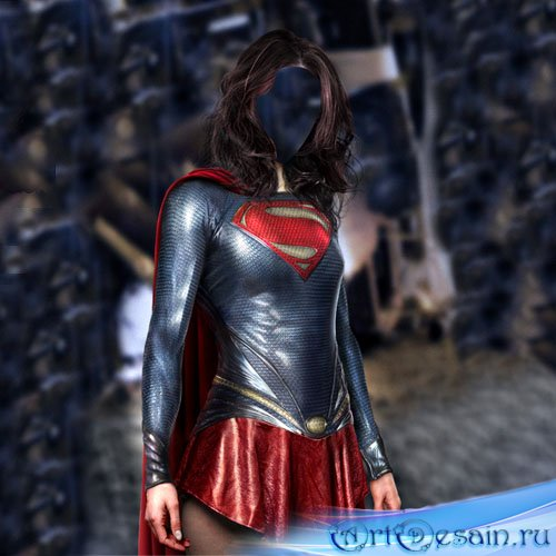 Женский шаблон - Супер девушка в костюме