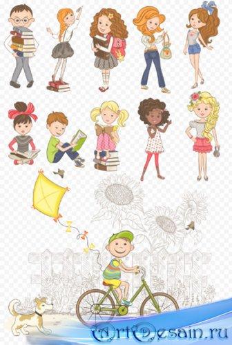Клипарт - Рисованные детские персонажи с книжками PSD прозрачный фон