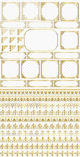 Рамки вырезы золотые уголки узорные бордюры PSD прозрачный фон